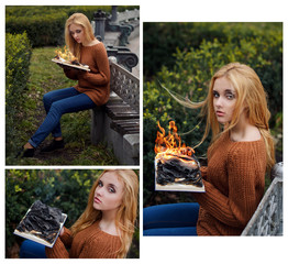 Photo collage of beautiful blonde girl sitting in the park and