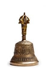 Tibetan buddhist ceremonial religious bell isolated