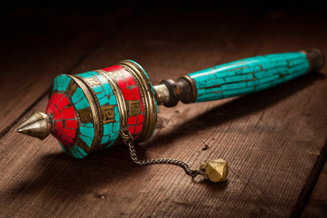 Tibetan buddhist Mani wheel or hand prayer wheel