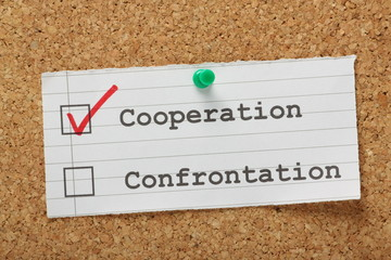 Tick boxes for Cooperation versus Confrontation