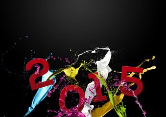 Voeux 2015 taches et éclaboussures de peinture