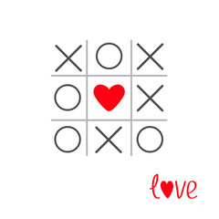 Tic tac toe game with cross and heart sign mark LoveFlat