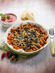 oven pasta with olives tomato and cheese