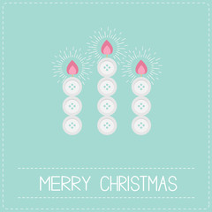 Three merry Christmas candles button Dash line Flat design