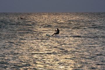 Sunset kiteboarding