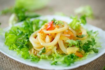 warm salad with fried calamari