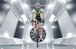 canvas print picture - Sport. Cyclist has a traning in the wind tunnel