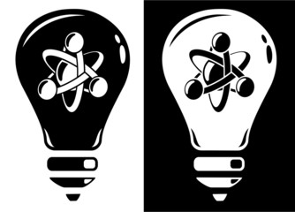 Light bulb with atom icon