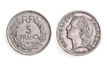 Ancienne pièce de monnaie française de 5 francs 1949