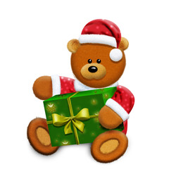 toy bear and gift box