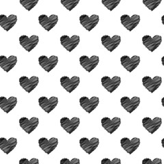 Black scribbled hearts pattern