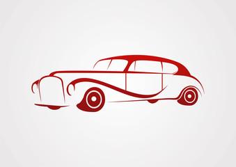 Retro Vintage car silhouette abstract vector logo