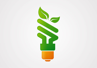 Ecology lamp light Bulb logo vector
