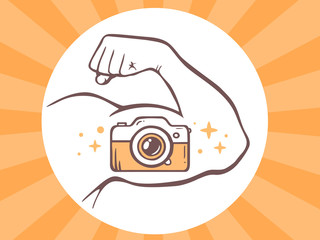 Vector illustration of strong man hand with photo camera icon on