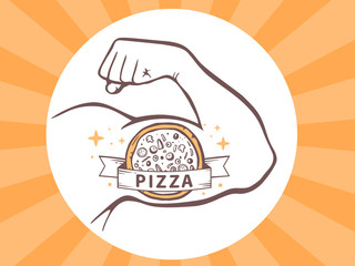 Vector illustration of strong man hand with  icon of pizza on br