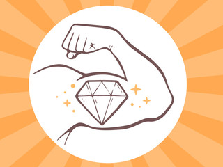 Vector illustration of strong man hand with  icon of diamond on