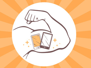Vector illustration of strong man hand with  icon of white and b