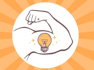 Vector illustration of strong man hand with  icon of bulb light