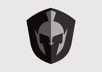 Spartan antiques roman shield helmets war vector logo vector
