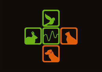 Medic cross pet animals cardiogram in logo vector