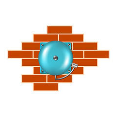 Retro alarm on the brick wall