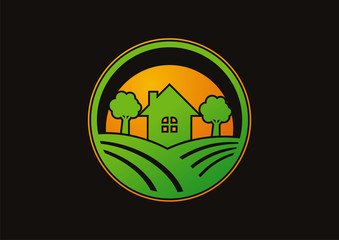 Circle landscapes home in village logo vector