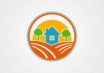 Circle landscapes home in village logo vector