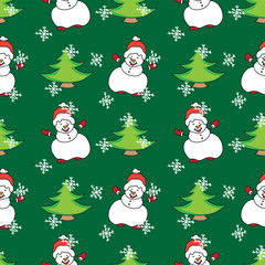 Snowman Christmas seamless pattern color