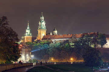 Night view of Royal Wawel castle in Krakow, Poland