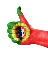 National flag of Portugal over hand