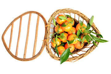small basket full of mandarin oranges