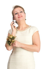 Woman in white dress with mobile