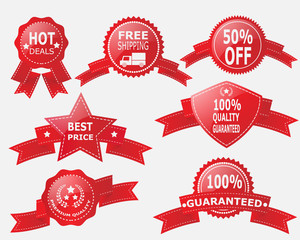 Red Label,Ribbon and Badge Vector