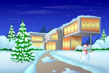 christmas holiday modern house winter snow, snowman