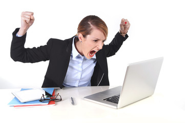 attractive business woman frustrated angry at office working
