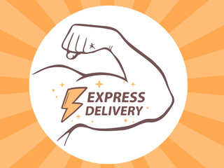 Vector illustration of strong man hand with  icon of express del