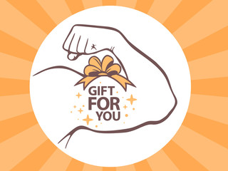 Vector illustration of strong man hand with  icon of gift for yo