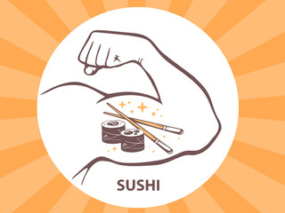 Vector illustration of strong man hand with  icon of sushi on br