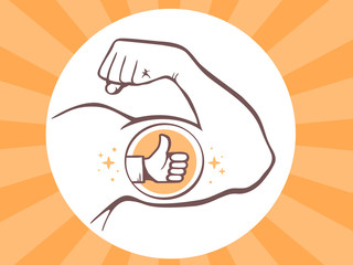Vector illustration of strong man hand with  icon of thumb up on