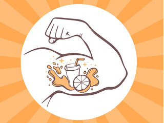 Vector illustration of strong man hand with  icon of fresh fruit