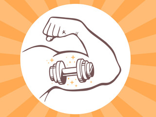 Vector illustration of strong man hand with  icon of dumbbell on