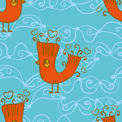 Seamless blue pattern with birds