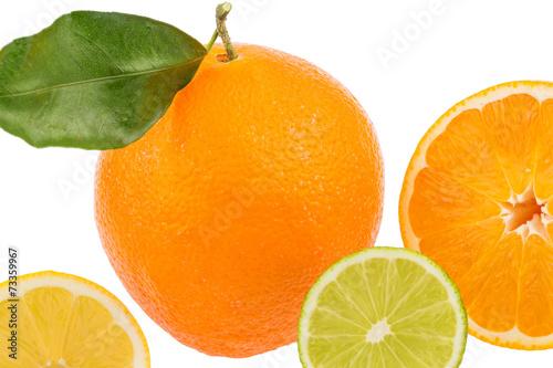 canvas print picture Spiegelung einer Orange