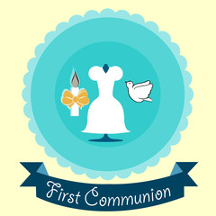 First Communion illustration over color background