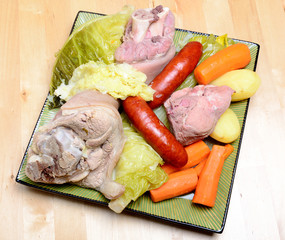 pot-au-feu with meat and vegetables in a dish