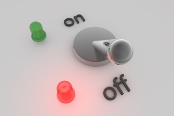 On or off - button with green and red LED lights