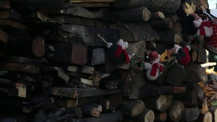 Christmas decoration on a pile of logs