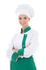 young happy chef woman in uniform isolated on white
