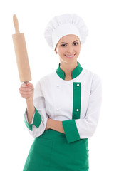 woman in chef uniform with wooden baking rolling pin isolated on