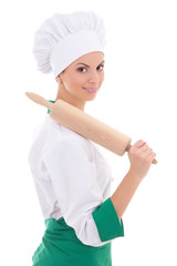 young woman in chef uniform with wooden baking rolling pin isola
